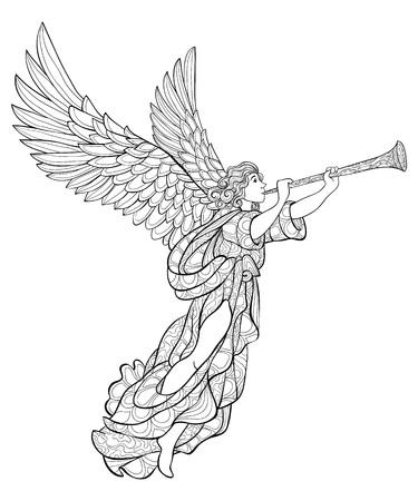 Un simpatico angelo di Natale con una tromba con ornamenti immagine per adulti. Un libro da colorare, pagina per attività rilassanti. Illustrazione in stile arte zen per la stampa. Design poster.