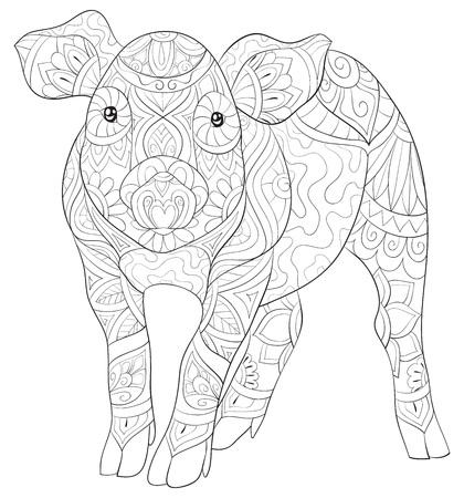 Un cochon mignon avec une image d'ornements pour adultes. Un livre de coloriage, une page pour une activité de détente. Illustration de style art zen pour l'impression. Conception d'affiches. Vecteurs