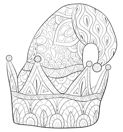 A cute christmas cap with ornaments image for adults.A coloring book,page for relaxing activity.Zen art style illustration for print.Poster design.