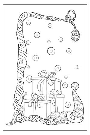 A cute Christmas tree with decoration balls and cap with three boxes of gifts image for adults.A coloring book,page for relaxing activity.Zen art style illustration for print.Poster design.