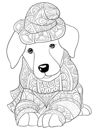 Śliczny pies śpi w czapce Boże Narodzenie z obrazem ozdoby na relaks. Kolorowanka, strona dla dorosłych. Ilustracja w stylu sztuki Zen do druku. Projekt plakatu.