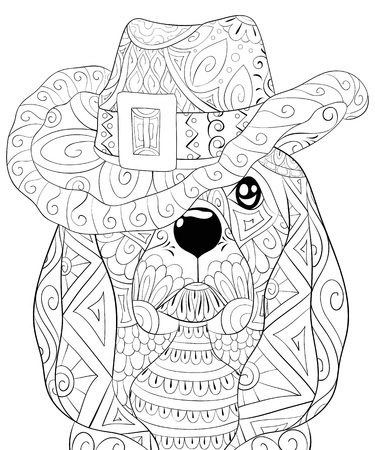 A cute dog wearing a Christmas cap with ornaments  image for relaxing.A coloring book,page for adults.Zen art style illustration for print.Poster design. Stock Illustratie