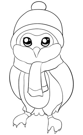 A cute cartoon owl wearing  a christmas cap and scarf and gloves  image for adults and children.A coloring book,page for relaxing activity.Line art style illustration for print.Poster design. Ilustração