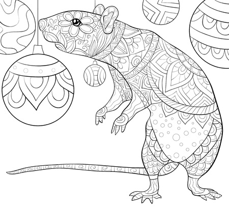 A cute rat with Christmas decoration balls image for relaxing activity.A coloring book,page for adults.Zen art style illustration for print.Poster design.
