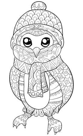 A cute cartoon owl wearing  a christmas cap,scarf and gloves image for adults.A coloring book,page for relaxing activity.Zen art style illustration for print.Poster design. Illustration