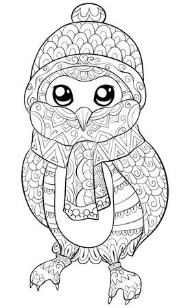 Un hibou de dessin animé mignon portant une image de bonnet, d'écharpe et de gants de Noël pour les adultes. Un livre de coloriage, une page pour une activité de détente. Illustration de style art zen pour l'impression. Conception de l'affiche.