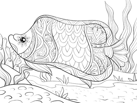 A cute fish with ornaments on the background  image for relaxing activity.A coloring book,page for adults.Zen art style illustration for print.Poster design.