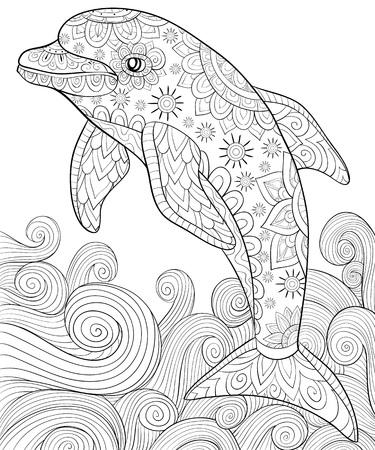 Un lindo delfín con adornos y ondas imagen para relajarse. Un libro para colorear, página para adultos. Ilustración de estilo de arte Zen para imprimir. Diseño de póster.