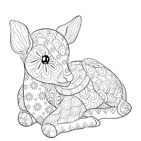 A cute little deer with ornaments  image for relaxing.A coloring book,page for adults.Zen art style illustration for print.Poster design.