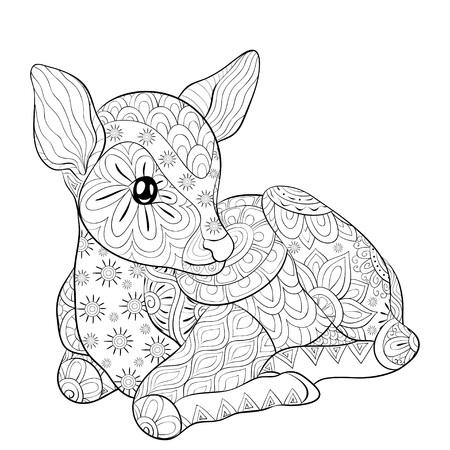 Un joli petit cerf avec une image d'ornements pour se détendre. Un livre de coloriage, une page pour les adultes. Illustration de style art zen pour l'impression. Conception de l'affiche. Vecteurs