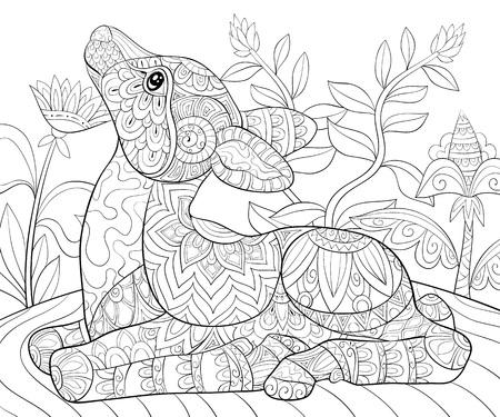 Un lindo ciervo con imagen de adornos para relajarse. Un libro para colorear, página para adultos. Ilustración de estilo de arte Zen para imprimir. Diseño de póster.