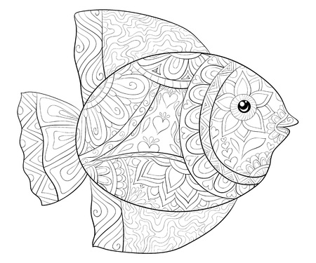 A cute fish with ornaments  image for relaxing activity.A coloring book,page for adults.Zen art style illustration for print.Poster design. Illustration