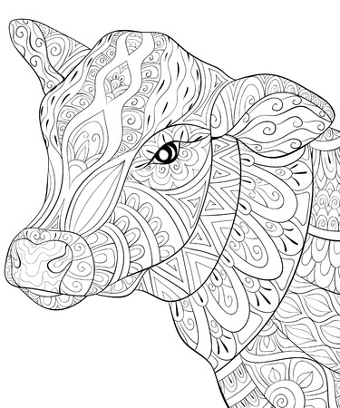 A cute head of cow with ornaments image for relaxing activity.A coloring book,page for adults.Zen art style illustration for print.Poster design. Illustration