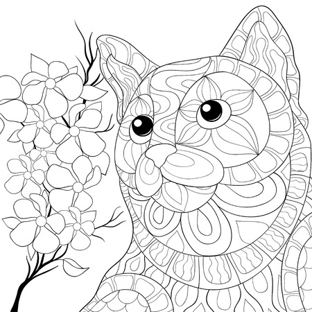 A cute cat with a brunch of flowers image for relaxing activity.Zen art style illustration for print.A coloring book,page for adults.Poster design.
