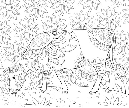 A cute cow grazing grass with ornaments on the abstract floral background image for relaxing activity.A coloring book,page for adults.Zen art style illustration for print.Poster design.