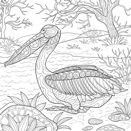 A cute pelican with ornaments on the nature landscape image for relaxing.Zen art style illustration for print.A coloring book,page for adults.Poster design. Ilustração