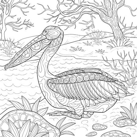 Un simpatico pellicano con ornamenti sull'immagine del paesaggio naturale per rilassarsi. Illustrazione in stile arte Zen per la stampa. Un libro da colorare, pagina per adulti. Design poster.
