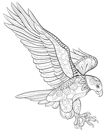 A cute flying eagle image for relaxing activity.A coloring book,page for adults.Zen art style illustration for print.Poster design. Иллюстрация
