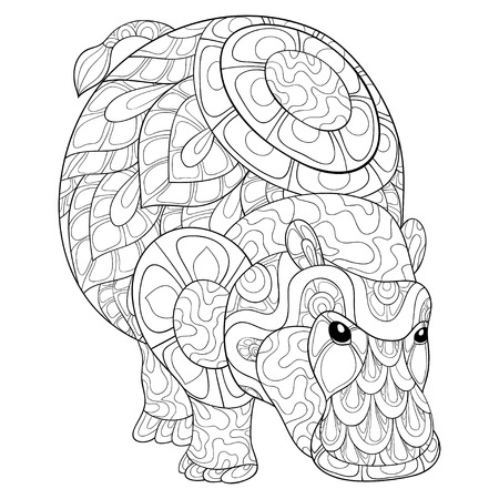A cute hippopotamus with ornaments  image for relaxing activity.A coloring book,page for adults.Zen art style illustration for print.Poster design.