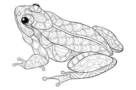 A cute frog with ornaments  image for relaxing activity.A coloring book,page for adults.Zen art style illustration for print.Poster design. 向量圖像