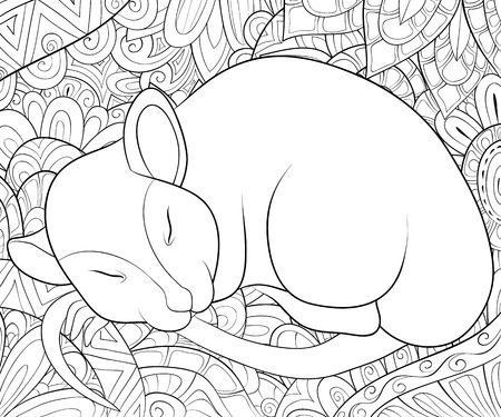 A cute sleeping rat on the abstract background with ornaments image for relaxing activity.A coloring book,page for adults.Zen art style illustration for print.Poster design.