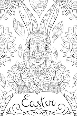 A cute Easter Bunny on the egg with lettering  on the abstract floral background image for relaxing.Zen art style illustration for print.A coloring book,page for adults.Poster design.