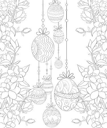 A decoration with Easter eggs with ornaments on the floral background image for relaxing activity.A coloring book,page for adults.Zen art style illustration for print.Poster design.