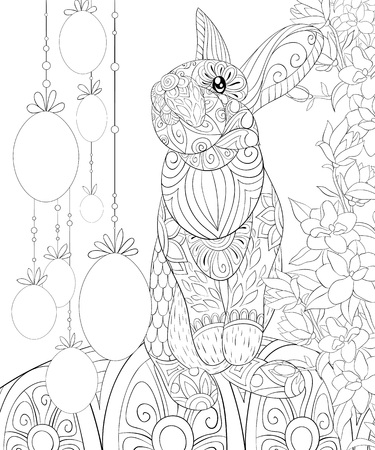 A cute Easter Bunny and eggs on the abstract background with ornaments image for relaxing.Zen art style illustration for print.A coloring book,page for adults.Poster design.