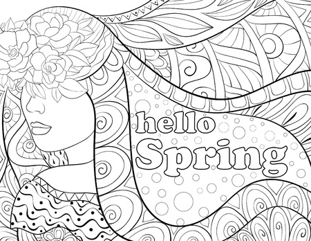 A cute fairy spring with lettering on the abstract background with ornaments image for relaxing activity.A coloring book,page for adults.Zen art style illustration for print.Poster design.