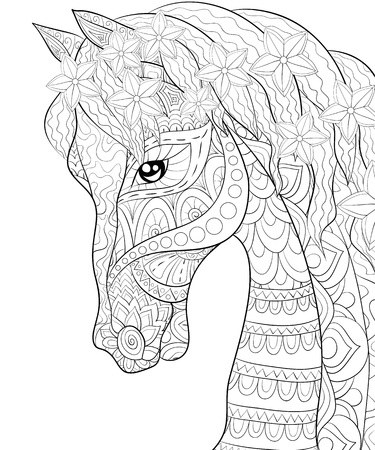 A cute horse with ornaments image for relaxing activity.A coloring book,page for adults.Zen art style illustration for print.Poster design.