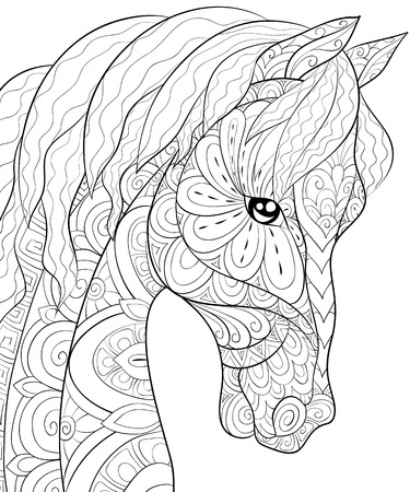 A cute horse with ornaments  image for relaxing activity.A coloring book,page for adults.Zen art style illustration for print.Poster design. Иллюстрация