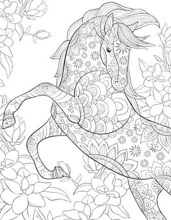 Ein süßes Pferd auf dem abstrakten floralen Hintergrundbild für entspannende Aktivitäten. Ein Malbuch, Seite für Erwachsene. Zen-Kunststilillustration für den Druck. Posterdesign. Vektorgrafik
