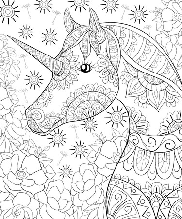 A cute unicorn on the abstract floral background image for relaxing activity.A coloring book,page for adults.Zen art style illustration for print.Poster design.