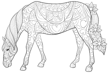 A cute horse with ornaments  image for relaxing activity.A coloring book,page for adults.Zen art style illustration for print.Poster design. Ilustrace