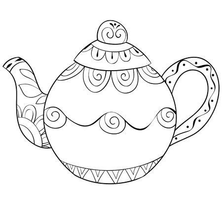 A cute tea-pot  with ornaments  image for relaxing activity.A coloring book,page for adults.Zen art style illustration for print.Poster design.