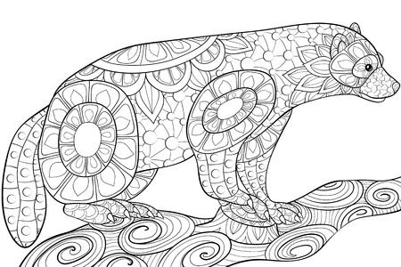 Un lindo ratton con adornos en la imagen del brunch para una actividad relajante. Un libro para colorear, página para adultos. Ilustración de estilo de arte Zen para imprimir.