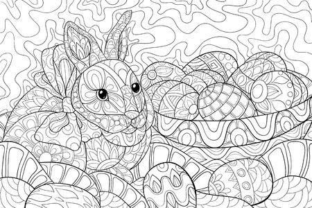 A cute Easter rabbit  near a basket with eggs on the abstract background with ornaments image for relaxing activity.A coloring book,page for adults.Zen art style illustration for print.Poster design.