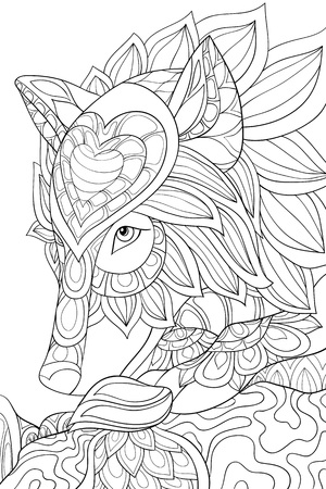 A cute head of wolf with ornaments image for relaxing activity.A coloring book,page for adults.Zen art style illustration for print.Poster design.