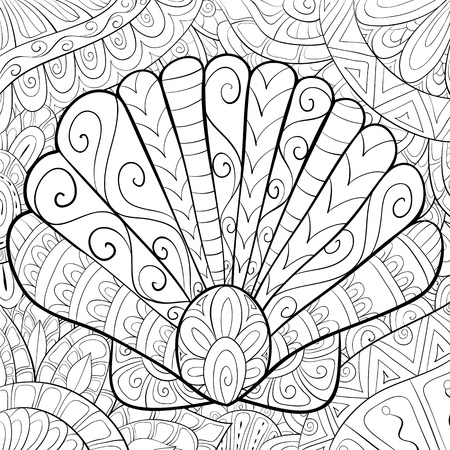 A cute shell  with ornaments  image for relaxing activity.A coloring book,page for adults.Zen art style illustration for print.Poster design. Ilustração