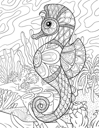 A cute seahorse with ornaments on the background  image for relaxing activity.A coloring book,page for adults.Zen art style illustration for print.Poster design.