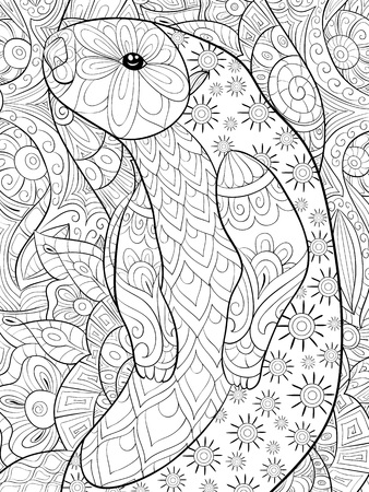 A cute otter with ornaments on the abstract background image for relaxing activity.A coloring book,page for adults.Zen art style illustration for print.Poster design.