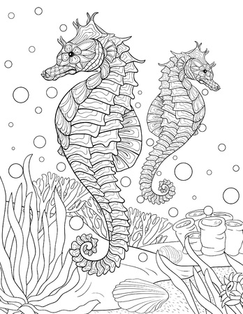 A cute seahorse with ornaments  image for relaxing activity.A coloring book,page for adults.Zen art style illustration for print.Poster design.