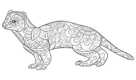 Una simpatica lontra con immagine di ornamenti per attività rilassante. Un libro da colorare, pagina per adulti. Illustrazione in stile arte Zen per la stampa. Design poster.