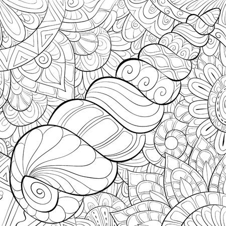 Eine süße Muschel auf dem abstrakten Hintergrund mit Ornamenten-Bild für entspannende Aktivitäten. Ein Malbuch, Seite für Erwachsene.