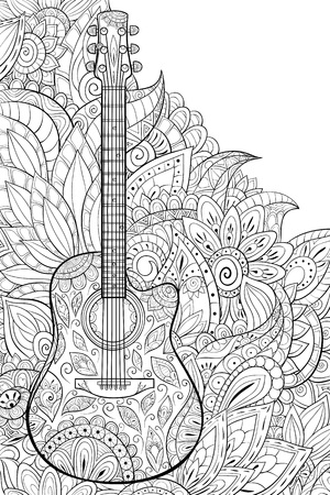 A cute guitar with ornaments on the abstract floral background image for relaxing activity.A coloring book,page for adults.Zen art style illustration for print.Poster design.