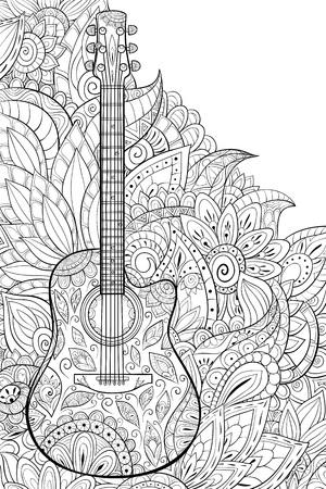 Una chitarra carina con ornamenti sull'immagine di sfondo floreale astratta per attività rilassante. Un libro da colorare, pagina per adulti. Illustrazione in stile arte zen per la stampa. Design poster.