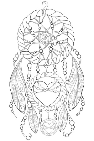 A cute dream catcher with ornaments  image for relaxing activity.A coloring book,page for adults.Zen art style illustration for print.Poster design. Foto de archivo - 114297367