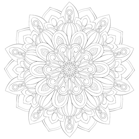 A zen mandala image for adults.A coloring book,page for relaxing activity.Zen art style illustration for print.Poster design. Ilustrace