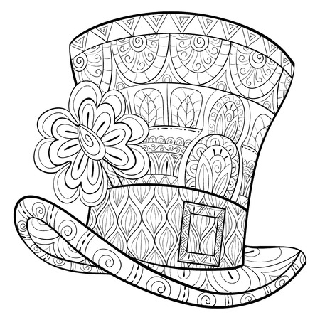 A cute St.Patrick hat with a clover and ornaments image for relaxing activity.A coloring book,page for adults.Zen art style illustration for print.Poster design.