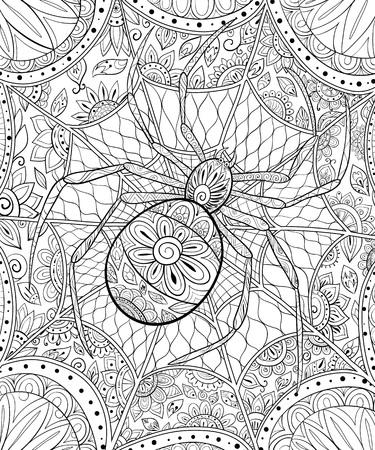 Eine süße Halloween-Spinne auf dem abstrakten Hintergrund mit Ornamenten-Bild zum Entspannen. Ein Malbuch, Seite für Erwachsene. Zen-Kunststilillustration für Print. Poster-Design.